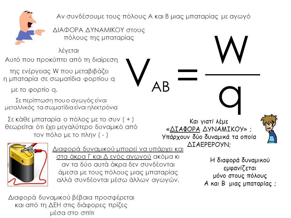 Αν συνδέσουμε τους πόλους Α και Β μιας μπαταρίας με αγωγό Αυτό που προκύπτει από τη διαίρεση Σε περίπτωση που ο αγωγός είναι μεταλλικός τα σωματίδια ε