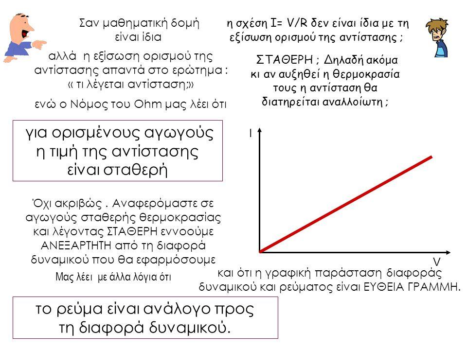 η σχέση Ι= V/R δεν είναι ίδια με τη εξίσωση ορισμού της αντίστασης ; Σαν μαθηματική δομή είναι ίδια V Ι αλλά η εξίσωση ορισμού της αντίστασης απαντά σ