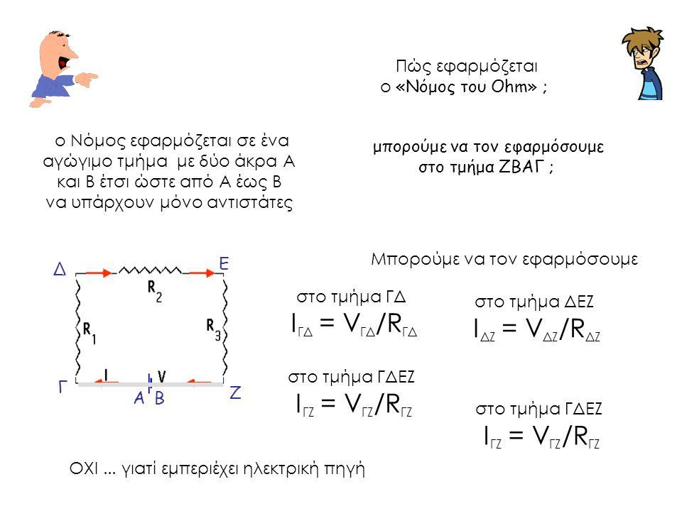 Πώς εφαρμόζεται ο «Νόμος του Ohm» ; ο Νόμος εφαρμόζεται σε ένα αγώγιμο τμήμα με δύο άκρα Α και Β έτσι ώστε από Α έως Β να υπάρχουν μόνο αντιστάτες Μπο