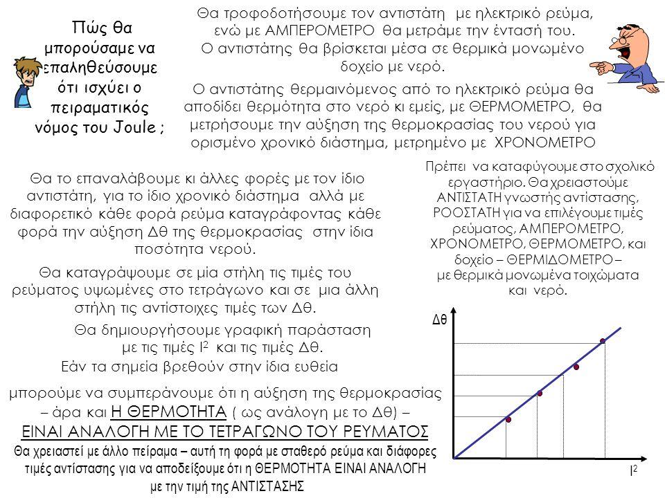 Πώς θα μπορούσαμε να επαληθεύσουμε ότι ισχύει ο πειραματικός νόμος του Joule ; Θα καταγράψουμε σε μία στήλη τις τιμές του ρεύματος υψωμένες στο τετράγ
