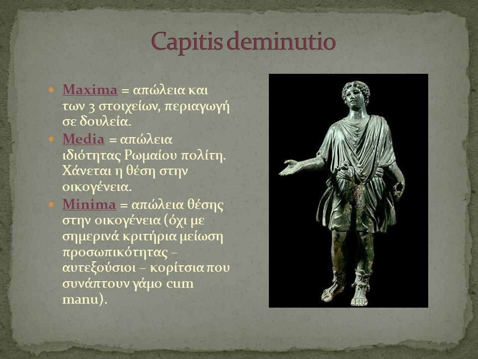  Maxima = απώλεια και των 3 στοιχείων, περιαγωγή σε δουλεία.  Media = απώλεια ιδιότητας Ρωμαίου πολίτη. Χάνεται η θέση στην οικογένεια.  Minima = α