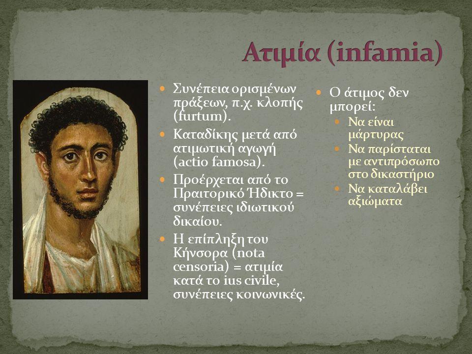  Συνέπεια ορισμένων πράξεων, π.χ. κλοπής (furtum).  Καταδίκης μετά από ατιμωτική αγωγή (actio famosa).  Προέρχεται από το Πραιτορικό Ήδικτο = συνέπ