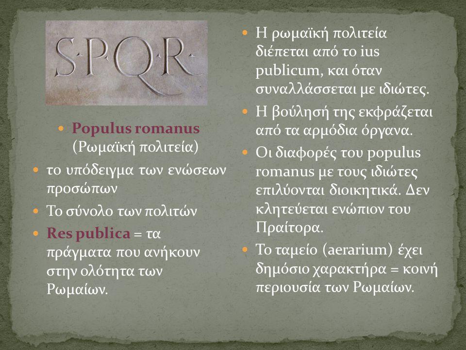 Populus romanus (Ρωμαϊκή πολιτεία)  το υπόδειγμα των ενώσεων προσώπων  Το σύνολο των πολιτών  Res publica = τα πράγματα που ανήκουν στην ολότητα