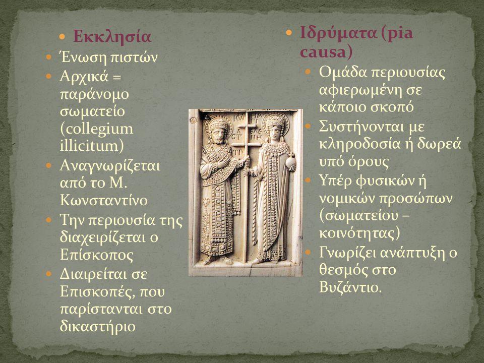  Εκκλησία  Ένωση πιστών  Αρχικά = παράνομο σωματείο (collegium illicitum)  Aναγνωρίζεται από το Μ. Κωνσταντίνο  Την περιουσία της διαχειρίζεται ο