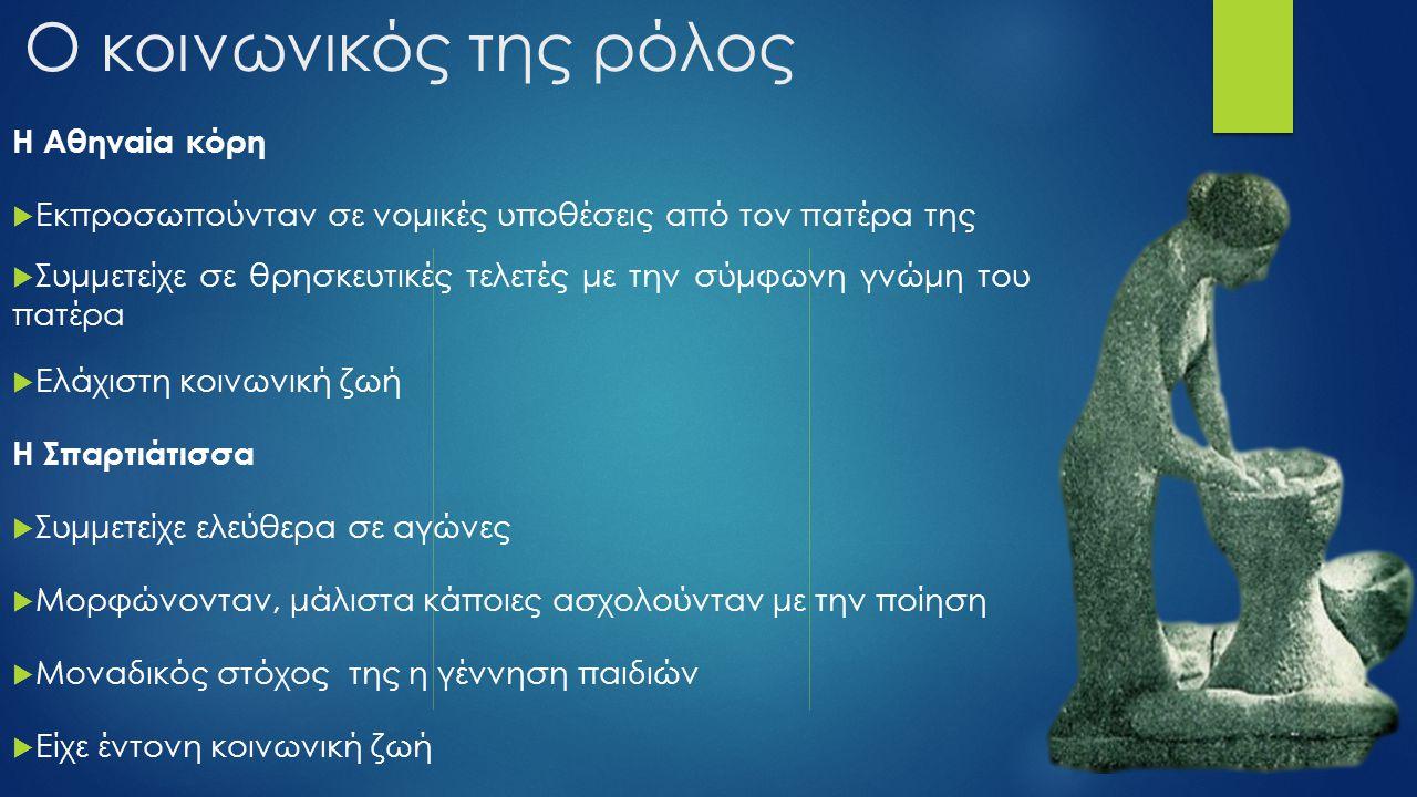 Ο κοινωνικός της ρόλος Η Αθηναία κόρη  Εκπροσωπούνταν σε νομικές υποθέσεις από τον πατέρα της  Συμμετείχε σε θρησκευτικές τελετές με την σύμφωνη γνώ