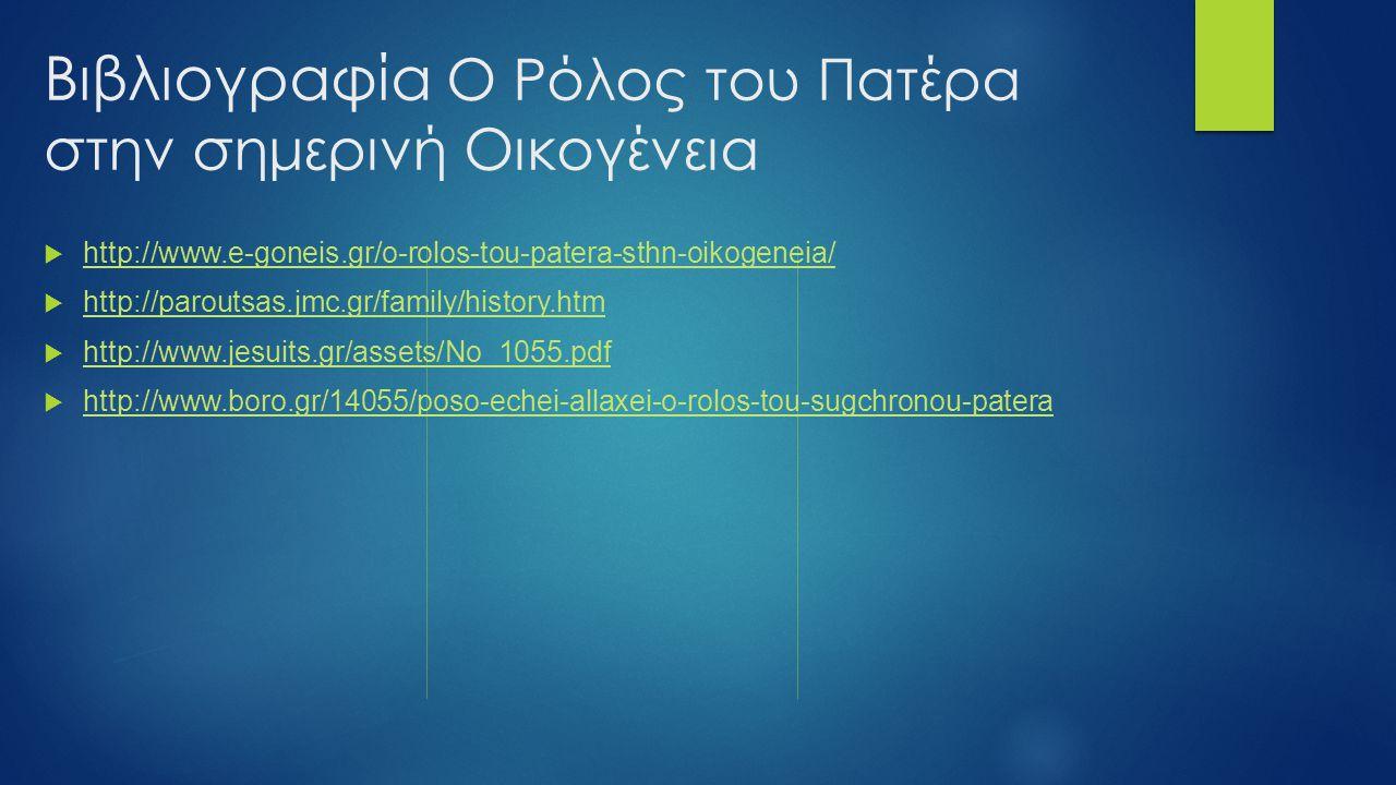 Βιβλιογραφία Ο Ρόλος του Πατέρα στην σημερινή Οικογένεια  http://www.e-goneis.gr/o-rolos-tou-patera-sthn-oikogeneia/ http://www.e-goneis.gr/o-rolos-t