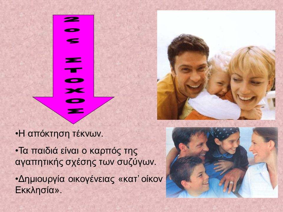 •Η•Η απόκτηση τέκνων.•Τ•Τα παιδιά είναι ο καρπός της αγαπητικής σχέσης των συζύγων.