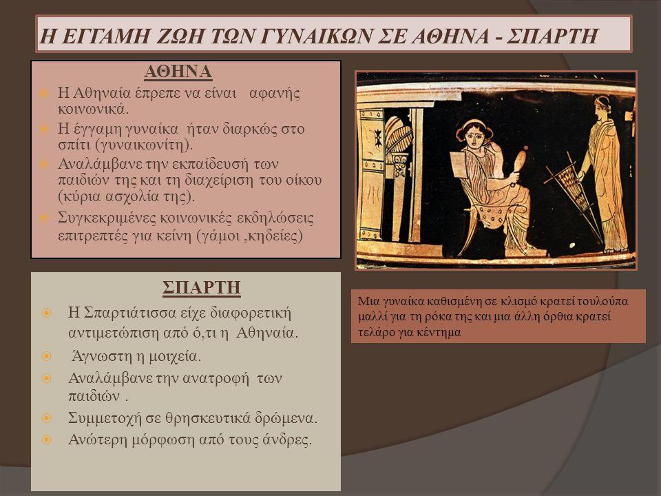 Η ΕΓΓΑΜΗ ΖΩΗ ΤΩΝ ΓΥΝΑΙΚΩΝ ΣΕ ΑΘΗΝΑ - ΣΠΑΡΤΗ ΑΘΗΝΑ  Η Αθηναία έπρεπε να είναι αφανής κοινωνικά.  Η έγγαμη γυναίκα ήταν διαρκώς στο σπίτι (γυναικωνίτη