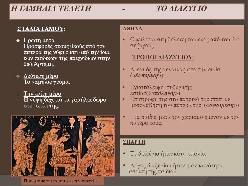 Η ΓΑΜΗΛΙΑ ΤΕΛΕΤΗ - ΤΟ ΔΙΑΖΥΓΙΟ ΣΤΑΔΙΑ ΓΑΜΟΥ:  Πρώτη μέρα Προσφορές στους θεούς από τον πατέρα της νύφης και από την ίδια των παιδικών της παιχνιδιών