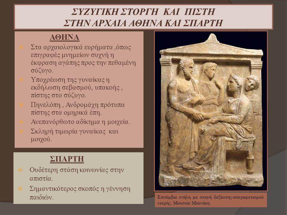 ΣΥΖΥΓΙΚΗ ΣΤΟΡΓΗ ΚΑΙ ΠΙΣΤΗ ΣΤΗΝ ΑΡΧΑΙΑ ΑΘΗΝΑ ΚΑΙ ΣΠΑΡΤΗ ΑΘΗΝΑ  Στα αρχαιολογικά ευρήματα,όπως επιγραφές μνημείων συχνή η έκφραση αγάπης προς την πεθαμ