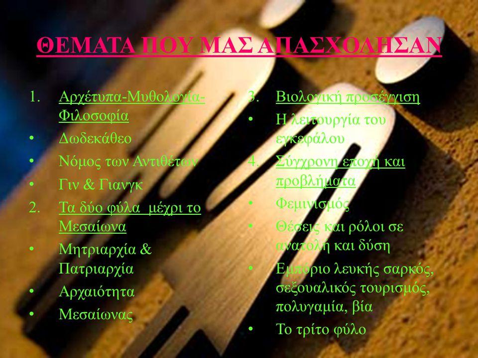 ΘΕΜΑΤΑ ΠΟΥ ΜΑΣ ΑΠΑΣΧΟΛΗΣΑΝ 1.Αρχέτυπα-Μυθολογία- Φιλοσοφία • Δωδεκάθεο • Νόμος των Αντιθέτων • Γιν & Γιανγκ 2.Τα δύο φύλα μέχρι το Μεσαίωνα • Μητριαρχ