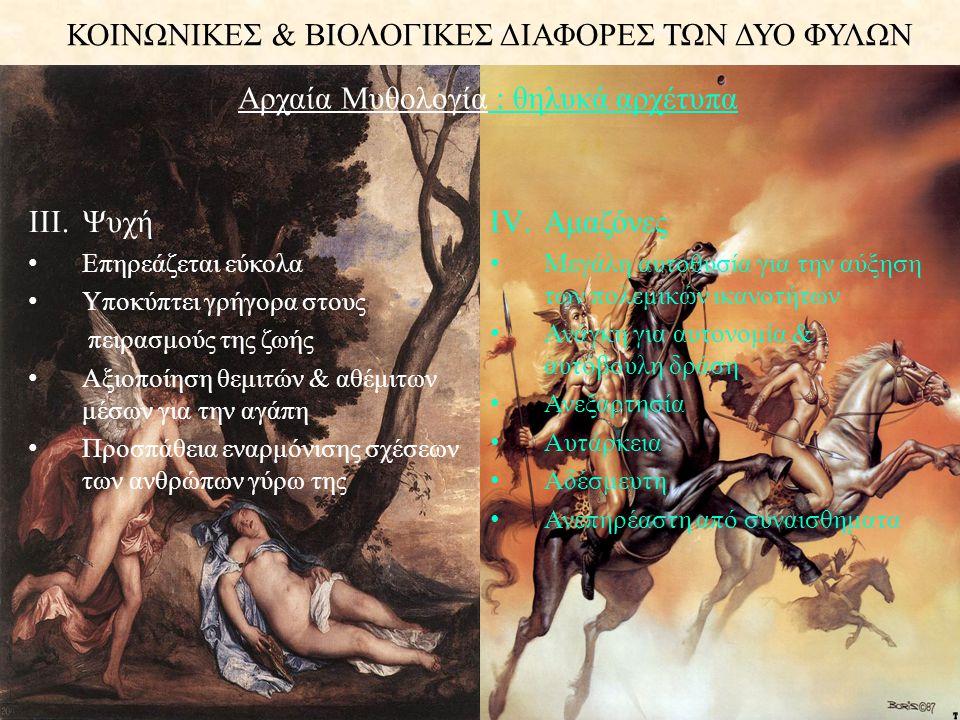 ΚΟΙΝΩΝΙΚΕΣ & ΒΙΟΛΟΓΙΚΕΣ ΔΙΑΦΟΡΕΣ ΤΩΝ ΔΥΟ ΦΥΛΩΝ V.Εστία • Διακριτική και ταυτόχρονα με εκτεταμένη παρουσία • Εκπρόσωπος ιερής φωτιάς σε σπίτι ή ναό, που δεν έσβηνε ποτέ • Μη ανταγωνιστικός τύπος • Επικεντρωμένη στην εσωτερική φύση και ομορφιά • Αδιάφορη για κάθε είδους εξουσία • Σοβαρή & Ώριμη • Με μέτρο σε κάθε ενέργεια VI.Μήδεια • Δαιμονική - Κακιά • Χωρίς συναισθήματα • Σκληρόκαρδη & Σκοτεινή προσωπικότητα • Μέσα στα όρια της ανθρώπινης φύσης • Απολύτως υποταγμένη • Στερημένη από κάθε χαρά και κοινωνική καταξίωση • Ανυπότακτη με τάση παραβίασης αποδεκτών κανόνων Αρχαία Μυθολογία: θηλυκά αρχέτυπα