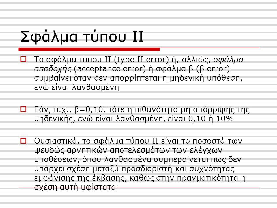 Σφάλμα τύπου ΙΙ  Το σφάλμα τύπου ΙΙ (type II error) ή, αλλιώς, σφάλμα αποδοχής (acceptance error) ή σφάλμα β (β error) συμβαίνει όταν δεν απορρίπτεται η μηδενική υπόθεση, ενώ είναι λανθασμένη  Εάν, π.χ., β=0,10, τότε η πιθανότητα μη απόρριψης της μηδενικής, ενώ είναι λανθασμένη, είναι 0,10 ή 10%  Ουσιαστικά, το σφάλμα τύπου ΙΙ είναι το ποσοστό των ψευδώς αρνητικών αποτελεσμάτων των ελέγχων υποθέσεων, όπου λανθασμένα συμπεραίνεται πως δεν υπάρχει σχέση μεταξύ προσδιοριστή και συχνότητας εμφάνισης της έκβασης, καθώς στην πραγματικότητα η σχέση αυτή υφίσταται