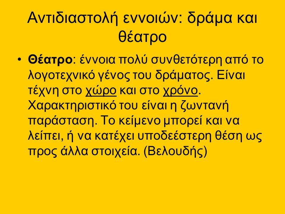 Θεατρικά είδη •Τραγωδία (από την αρχαιότητα) •Κωμωδία (από την αρχαιότητα) •Δράμα (από τα μέσα του 18 ου αιώνα) •……… (20 ος αιώνας κε.) ----------------------------------- (Παρένθεση: Οι σημασίες του όρου «δραματικός»)