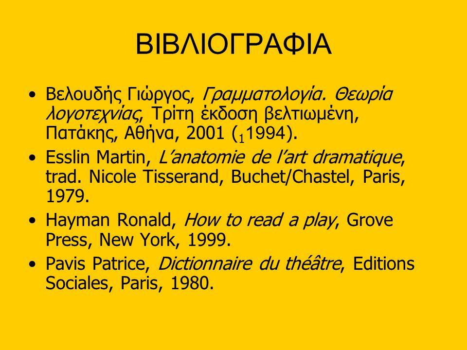 ΒΙΒΛΙΟΓΡΑΦΙΑ •Βελουδής Γιώργος, Γραμματολογία. Θεωρία λογοτεχνίας, Τρίτη έκδοση βελτιωμένη, Πατάκης, Αθήνα, 2001 ( 1 1994 ). •Esslin Martin, L'anatomi