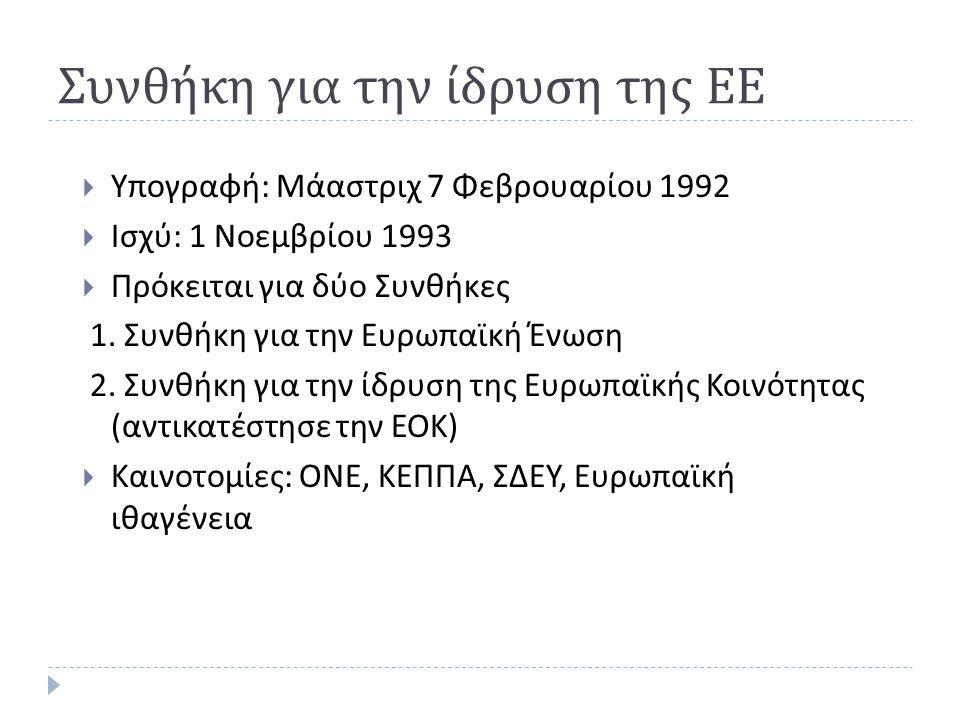 Συνθήκη για την ίδρυση της ΕΕ  Υπογραφή : Μάαστριχ 7 Φεβρουαρίου 1992  Ισχύ : 1 Νοεμβρίου 1993  Πρόκειται για δύο Συνθήκες 1. Συνθήκη για την Ευρωπ