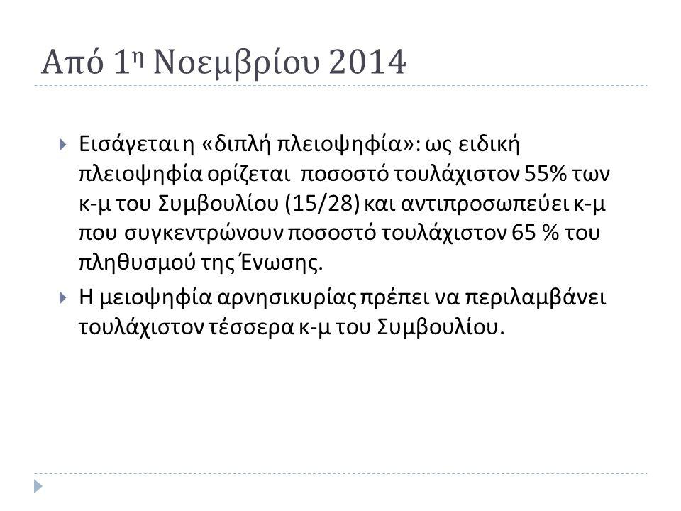 Από 1 η Νοεμβρίου 2014  Εισάγεται η « διπλή πλειοψηφία »: ως ειδική πλειοψηφία ορίζεται ποσοστό τουλάχιστον 55% των κ - μ του Συμβουλίου (15/28) και