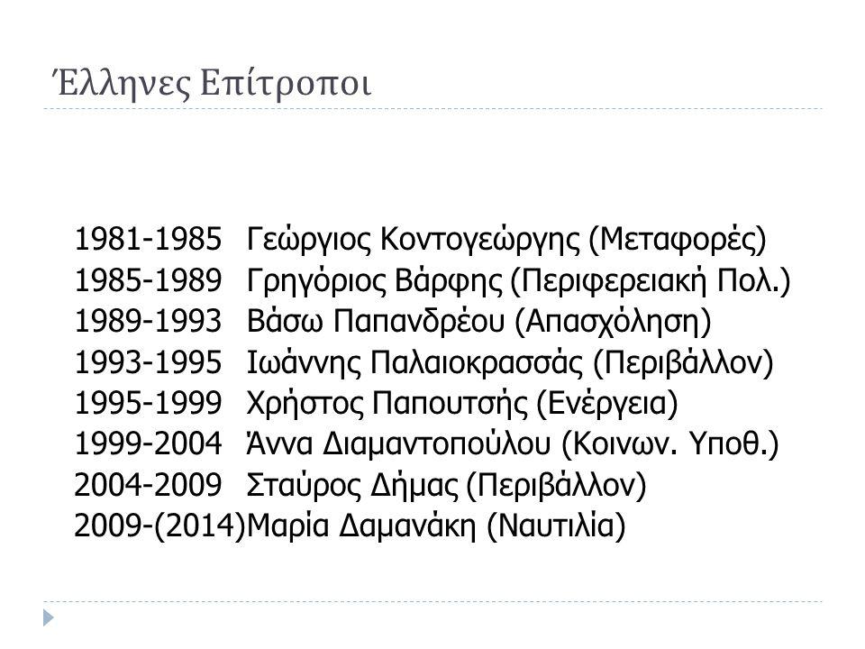 Έλληνες Επίτροποι 1981-1985Γεώργιος Κοντογεώργης (Μεταφορές) 1985-1989Γρηγόριος Βάρφης (Περιφερειακή Πολ.) 1989-1993Βάσω Παπανδρέου (Απασχόληση) 1993-