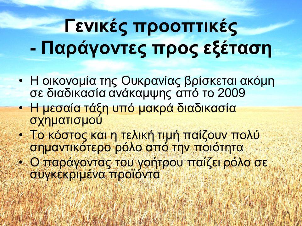 Γενικές προοπτικές - Παράγοντες προς εξέταση •Η οικονομία της Ουκρανίας βρίσκεται ακόμη σε διαδικασία ανάκαμψης από το 2009 •Η μεσαία τάξη υπό μακρά δ