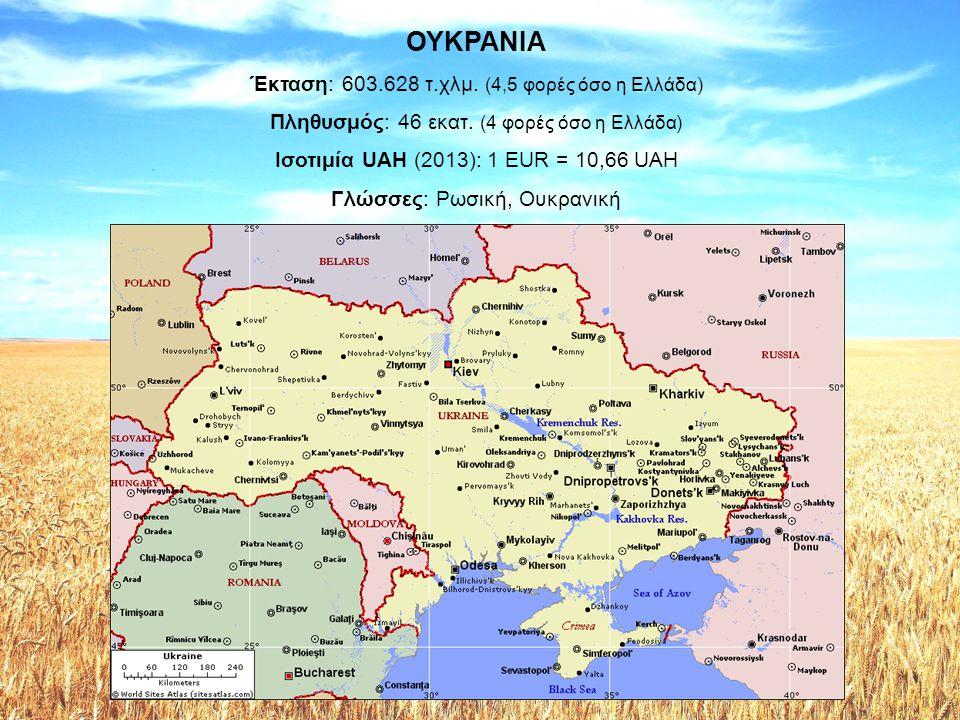 ΟΥΚΡΑΝΙΑ Έκταση: 603.628 τ.χλμ. (4,5 φορές όσο η Ελλάδα) Πληθυσμός: 46 εκατ. (4 φορές όσο η Ελλάδα) Ισοτιμία UAH (2013): 1 EUR = 10,66 UAH Γλώσσες: Ρω