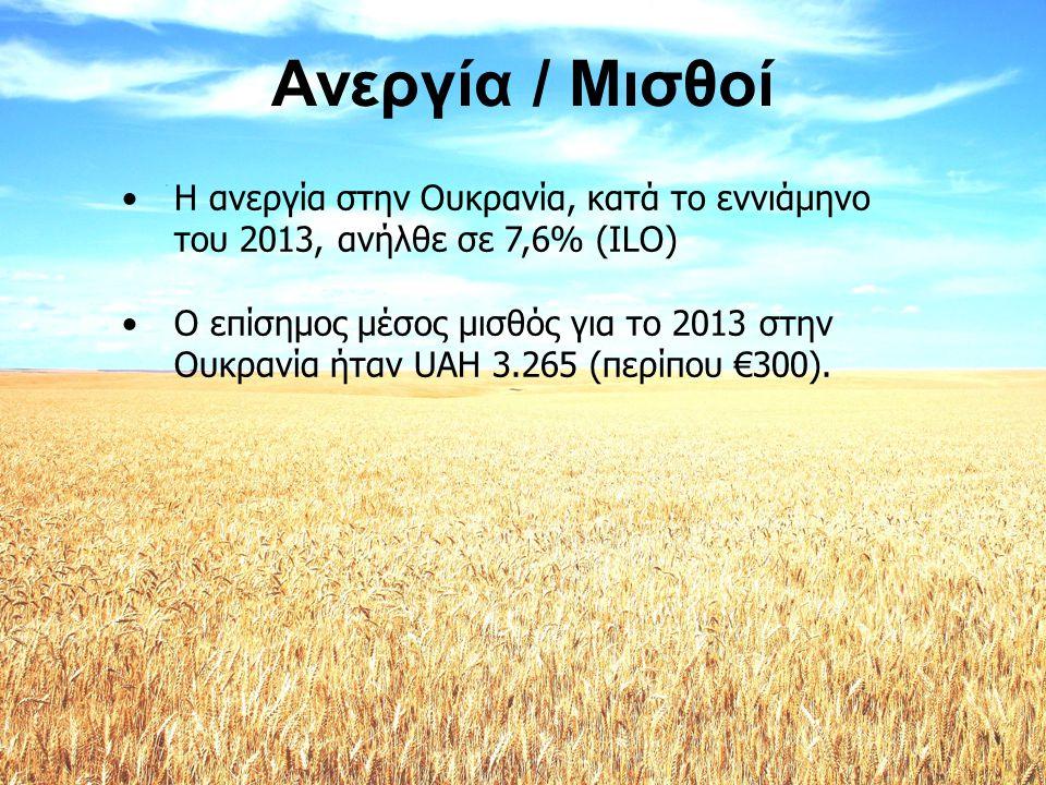Ανεργία / Μισθοί •Η ανεργία στην Ουκρανία, κατά το εννιάμηνο του 2013, ανήλθε σε 7,6% (ILO) •Ο επίσημος μέσος μισθός για το 2013 στην Ουκρανία ήταν UA