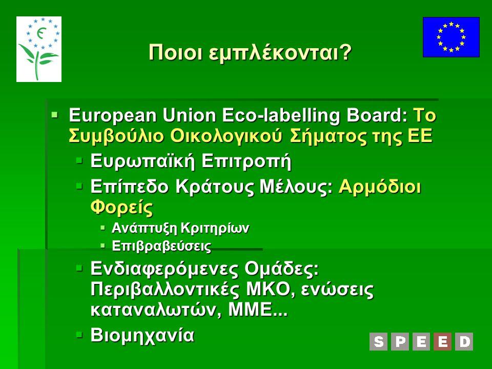 Οικονομικά Οφέλη  Ανταγωνιστικό Πλεονέκτημα σε ένα όλο και πιο ευαισθητοποιημένο καταναλωτικό κοινό  Αύξηση του μεριδίου αγοράς, ειδικά από μεγάλους καταναλωτές (ξενοδοχεία, κλπ)  Προβολή στην ιστοσελίδα ΕΕ  Πράσινες προμήθειες  Χρήση από επιχειρήσεις με υπηρεσίες που επιβραβεύονται με το Ευρωπαϊκό Οικολογικό Σήμα