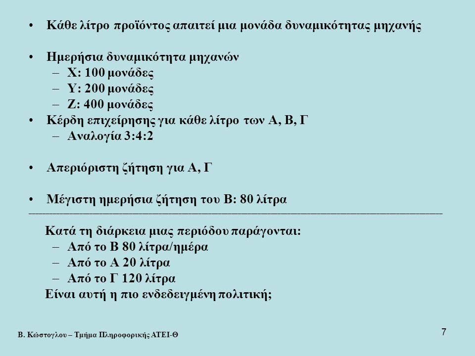 28 •Τόρνος (φάση 1): –σε 1 ώρα παράγει 30 βαλβίδες Α ή 40 βαλβίδες Β  η μία μονάδα τύπου Α παράγεται σε 1/30 της ώρας, ενώ η μία μονάδα τύπου Β στο 1/40 της ώρας  οι x 1 μονάδες Α σε x 1 /30 και οι x 2 μονάδες Β σε x 2 /40  συνολικός χρόνος: x 1 /30 + x 2 /40  Ο χρονικός περιορισμός είναι: x 1 /30 + x 2 /40  1 (ώρα) •Τρυπάνι (φάση 2): –σε 1 ώρα 28 βαλβίδες Α ή 35 βαλβίδες Β  η μία μονάδα Α παράγεται σε 1/28 της ώρας και το 1Β στο 1/35  οι x 1 σε x 1 /28 και οι x 2 σε x 2 /35  συνολικός χρόνος: x 1 /28 + x 2 /35  ο χρονικός περιορισμός είναι: x 1 /28 + x 2 /35  1 (ώρα) Β.