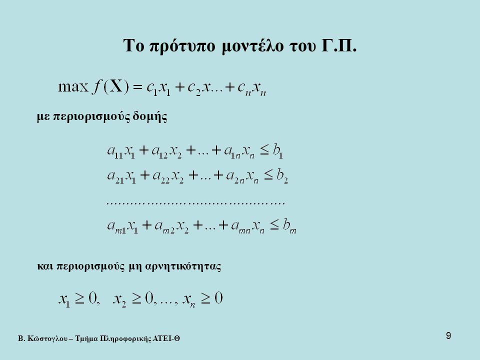 10 Παραλλαγές του μοντέλου •Ελαχιστοποίηση (min) της αντικειμενικής συνάρτησης •Για κάποιους περιορισμούς μπορεί να έχουμε > ή >= ή < ή = •Κάποιες από τις μεταβλητές δεν είναι απαραίτητα μη αρνητικές •Σε κάθε περίπτωση μπορεί να βρεθεί μαθηματική διατύπωση ισοδύναμη με το πρότυπο μοντέλο του Γ.Π.