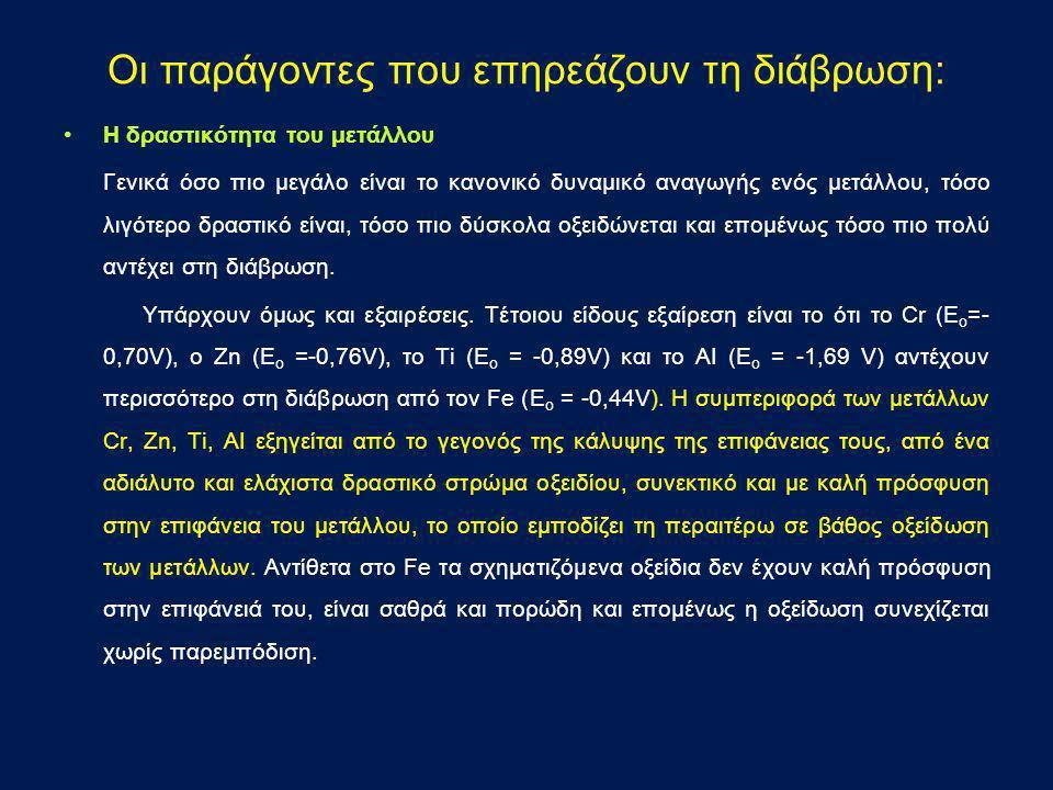 Οι παράγοντες που επηρεάζουν τη διάβρωση: •Η δραστικότητα του μετάλλου Γενικά όσο πιο μεγάλο είναι το κανονικό δυναμικό αναγωγής ενός μετάλλου, τόσο λ