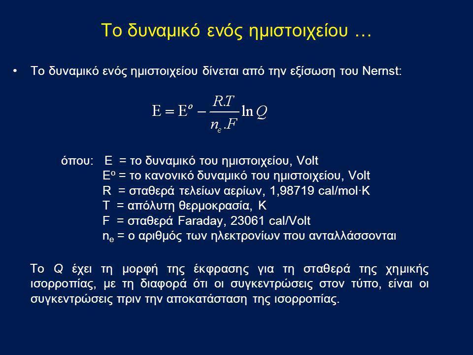 Το δυναμικό ενός ημιστοιχείου … •Το δυναμικό ενός ημιστοιχείου δίνεται από την εξίσωση του Νernst: όπου: E = το δυναμικό του ημιστοιχείου, Volt E o =