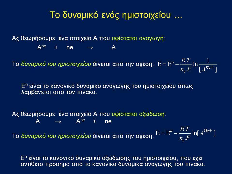 Το δυναμικό ενός ημιστοιχείου … Ας θεωρήσουμε ένα στοιχείο Α που υφίσταται αναγωγή: A ne + ne → Α Το δυναμικό του ημιστοιχείου δίνεται από την σχέση: