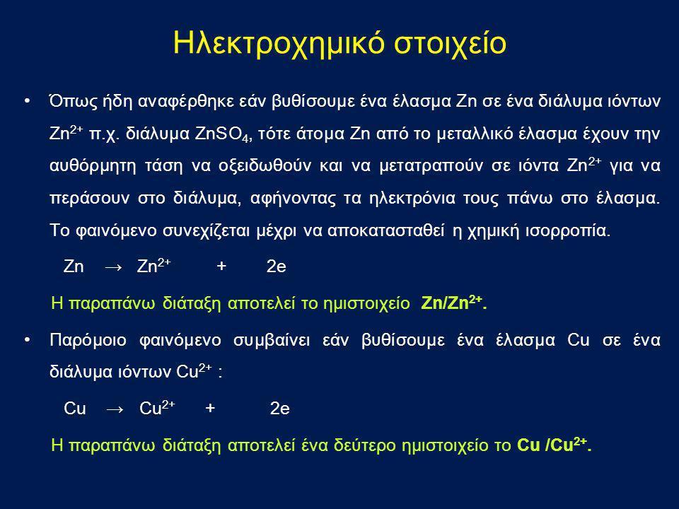 Ηλεκτροχημικό στοιχείο •Όπως ήδη αναφέρθηκε εάν βυθίσουμε ένα έλασμα Ζn σε ένα διάλυμα ιόντων Ζn 2+ π.χ. διάλυμα ZnSO 4, τότε άτομα Ζn από το μεταλλικ