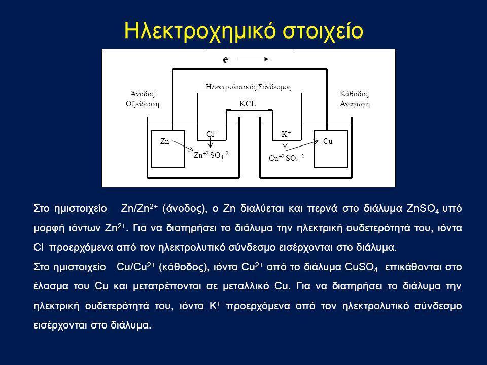 Ηλεκτροχημικό στοιχείο ZnCu Ηλεκτρολυτικός Σύνδεσμος e KCL Zn +2 SO 4 -2 Cu +2 SO 4 -2 Cl - K+K+ Άνοδος Οξείδωση Κάθοδος Αναγωγή Στο ημιστοιχείο Ζn/Ζn