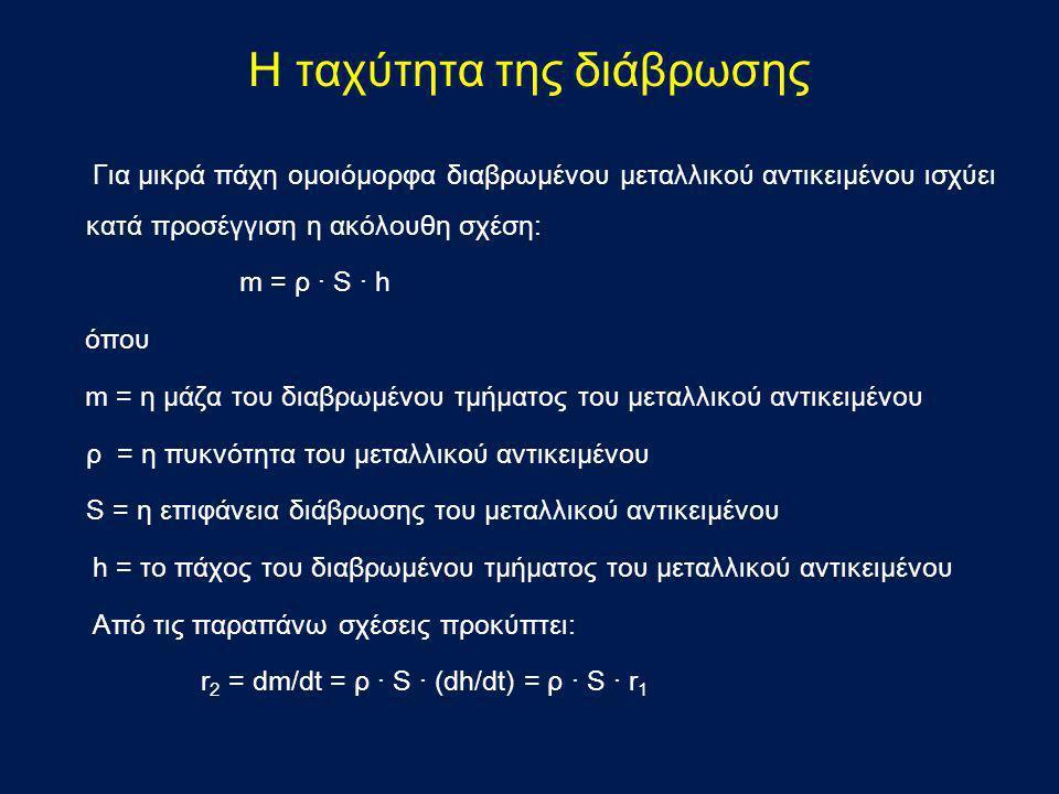 Για μικρά πάχη ομοιόμορφα διαβρωμένου μεταλλικού αντικειμένου ισχύει κατά προσέγγιση η ακόλουθη σχέση: m = ρ · S · h όπου m = η μάζα του διαβρωμένου τ