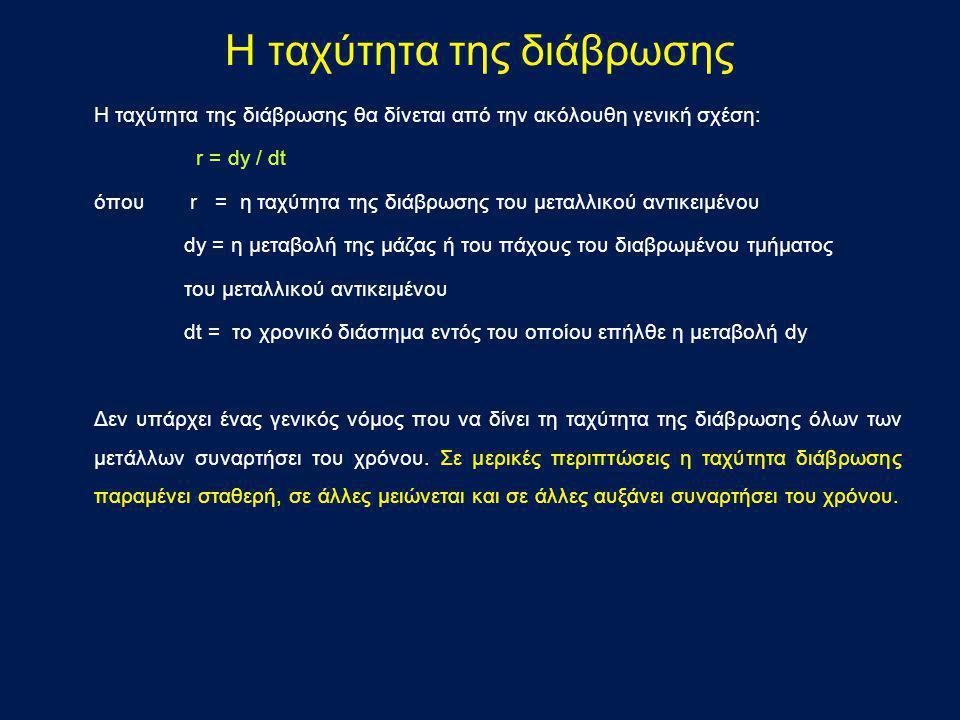 Η ταχύτητα της διάβρωσης θα δίνεται από την ακόλουθη γενική σχέση: r = dy / dt όπου r = η ταχύτητα της διάβρωσης του μεταλλικού αντικειμένου dy = η με