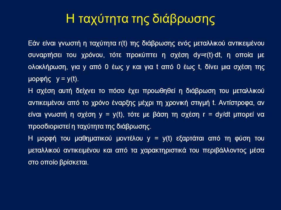 Εάν είναι γνωστή η ταχύτητα r(t) της διάβρωσης ενός μεταλλικού αντικειμένου συναρτήσει του χρόνου, τότε προκύπτει η σχέση dy=r(t)·dt, η οποία με ολοκλ