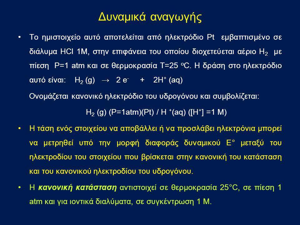 •Το ημιστοιχείο αυτό αποτελείται από ηλεκτρόδιο Pt εμβαπτισμένο σε διάλυμα HCl 1Μ, στην επιφάνεια του οποίου διοχετεύεται αέριο Η 2 με πίεση Ρ=1 atm κ