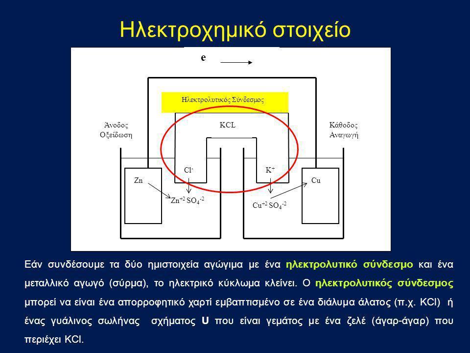 Ηλεκτροχημικό στοιχείο Εάν συνδέσουμε τα δύο ημιστοιχεία αγώγιμα με ένα ηλεκτρολυτικό σύνδεσμο και ένα μεταλλικό αγωγό (σύρμα), το ηλεκτρικό κύκλωμα κ