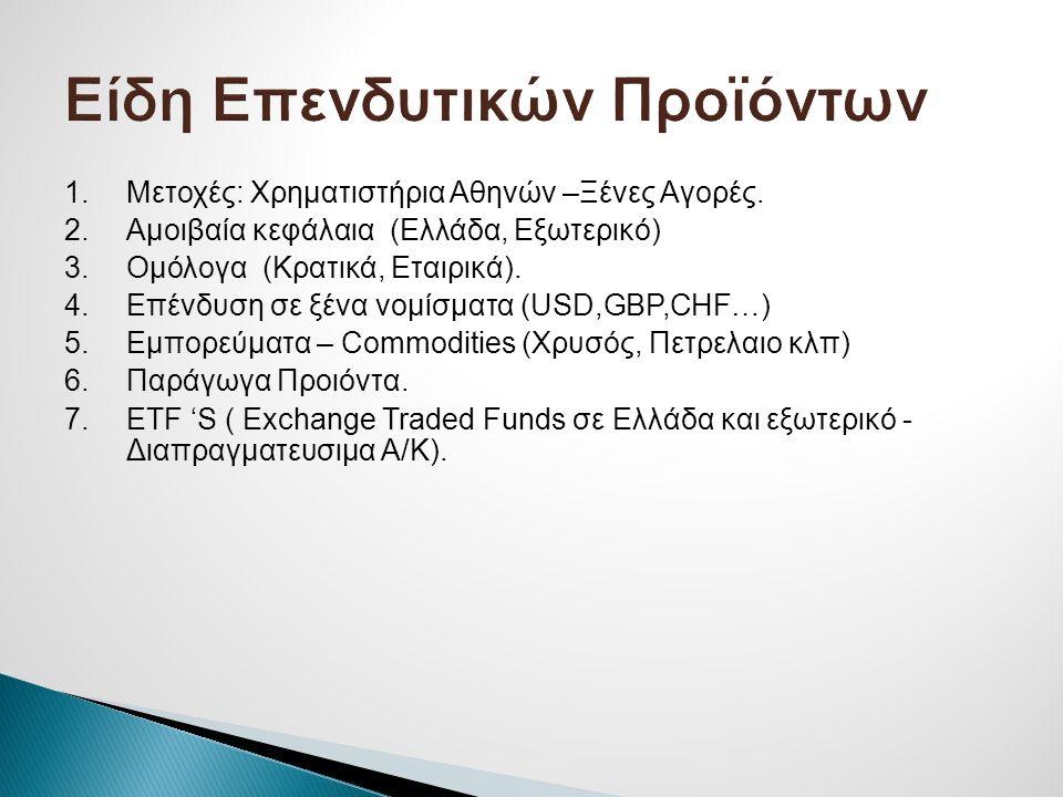 1.Μετοχές: Χρηματιστήρια Αθηνών –Ξένες Αγορές. 2.Αμοιβαία κεφάλαια (Ελλάδα, Εξωτερικό) 3.Ομόλογα (Κρατικά, Εταιρικά). 4.Επένδυση σε ξένα νομίσματα (US