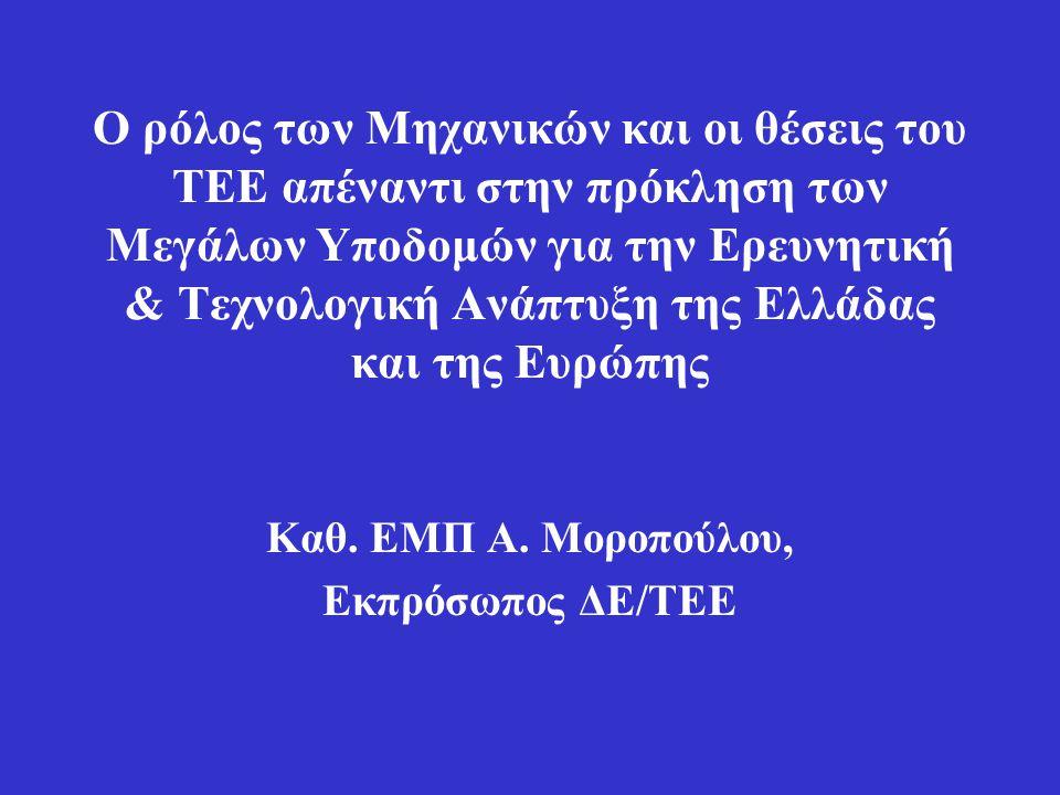 Ο ρόλος των Μηχανικών και οι θέσεις του ΤΕΕ απέναντι στην πρόκληση των Μεγάλων Υποδομών για την Ερευνητική & Τεχνολογική Ανάπτυξη της Ελλάδας και της Ευρώπης Καθ.