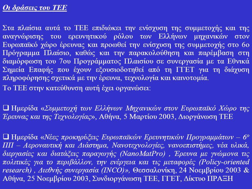 Οι δράσεις του ΤΕΕ Στα πλαίσια αυτά το ΤΕΕ επιδιώκει την ενίσχυση της συμμετοχής και της αναγνώρισης του ερευνητικού ρόλου των Ελλήνων μηχανικών στον Ευρωπαϊκό χώρο έρευνας και προωθεί την ενίσχυση της συμμετοχής στο 6ο Πρόγραμμα Πλαίσιο, καθώς και την παρακολούθηση και παρέμβαση στη διαμόρφωση του 7ου Προγράμματος Πλαισίου σε συνεργασία με τα Εθνικά Σημεία Επαφής που έχουν εξουσιοδοτηθεί από τη ΓΓΕΤ για τη διάχυση πληροφόρησης σχετικά με την έρευνα, τεχνολογία και καινοτομία.