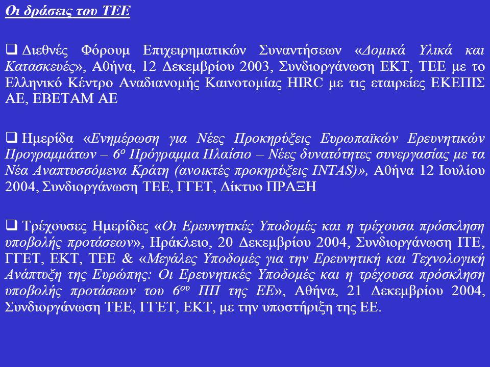 Οι δράσεις του ΤΕΕ  Διεθνές Φόρουμ Επιχειρηματικών Συναντήσεων «Δομικά Υλικά και Κατασκευές», Αθήνα, 12 Δεκεμβρίου 2003, Συνδιοργάνωση ΕΚΤ, ΤΕΕ με το Ελληνικό Κέντρο Αναδιανομής Καινοτομίας HIRC με τις εταιρείες ΕΚΕΠΙΣ AE, EBETAM AE  Ημερίδα «Ενημέρωση για Νέες Προκηρύξεις Ευρωπαϊκών Ερευνητικών Προγραμμάτων – 6 ο Πρόγραμμα Πλαίσιο – Νέες δυνατότητες συνεργασίας με τα Νέα Αναπτυσσόμενα Κράτη (ανοικτές προκηρύξεις INTAS)», Αθήνα 12 Ιουλίου 2004, Συνδιοργάνωση ΤΕΕ, ΓΓΕΤ, Δίκτυο ΠΡΑΞΗ  Τρέχουσες Ημερίδες «Οι Ερευνητικές Υποδομές και η τρέχουσα πρόσκληση υποβολής προτάσεων», Ηράκλειο, 20 Δεκεμβρίου 2004, Συνδιοργάνωση ΙΤΕ, ΓΓΕΤ, ΕΚΤ, ΤΕΕ & «Μεγάλες Υποδομές για την Ερευνητική και Τεχνολογική Ανάπτυξη της Ευρώπης: Οι Ερευνητικές Υποδομές και η τρέχουσα πρόσκληση υποβολής προτάσεων του 6 ου ΠΠ της ΕΕ», Αθήνα, 21 Δεκεμβρίου 2004, Συνδιοργάνωση ΤΕΕ, ΓΓΕΤ, ΕΚΤ, με την υποστήριξη της ΕΕ.