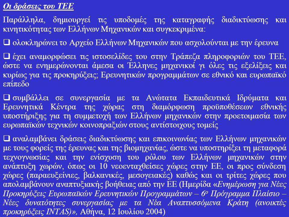 Οι δράσεις του ΤΕΕ Παράλληλα, δημιουργεί τις υποδομές της καταγραφής διαδικτύωσης και κινητικότητας των Ελλήνων Μηχανικών και συγκεκριμένα:  ολοκληρώνει το Αρχείο Ελλήνων Μηχανικών που ασχολούνται με την έρευνα  έχει αναμορφώσει τις ιστοσελίδες του στην Τράπεζα πληροφοριών του ΤΕΕ, ώστε να ενημερώνονται άμεσα οι Έλληνες μηχανικοί γι όλες τις εξελίξεις και κυρίως για τις προκηρύξεις; Ερευνητικών προγραμμάτων σε εθνικό και ευρωπαϊκό επίπεδο  συμβάλλει σε συνεργασία με τα Ανώτατα Εκπαιδευτικά Ιδρύματα και Ερευνητικά Κέντρα της χώρας στη διαμόρφωση προϋποθέσεων εθνικής υποστήριξης για τη συμμετοχή των Ελλήνων μηχανικών στην προετοιμασία των ευρωπαϊκών τεχνικών κοινοπραξιών στους αντίστοιχους τομείς  αναλαμβάνει δράσεις διαδικτύωσης και επικοινωνίας των Ελλήνων μηχανικών με τους φορείς της έρευνας και της βιομηχανίας, ώστε να υποστηρίξει τη μεταφορά τεχνογνωσίας και την ενίσχυση του ρόλου των Ελλήνων μηχανικών στην ανάπτυξη χωρών, όπως οι 10 νεοενταχθείσες χώρες στην ΕΕ, οι προς σύνδεση χώρες (παραευξείνιες, βαλκανικές, μεσογειακές) καθώς και οι τρίτες χώρες που απολαμβάνουν αναπτυξιακής βοήθειας από την ΕΕ (Ημερίδα «Ενημέρωση για Νέες Προκηρύξεις Ευρωπαϊκών Ερευνητικών Προγραμμάτων – 6 ο Πρόγραμμα Πλαίσιο – Νέες δυνατότητες συνεργασίας με τα Νέα Αναπτυσσόμενα Κράτη (ανοικτές προκηρύξεις INTAS)», Αθήνα, 12 Ιουλίου 2004)