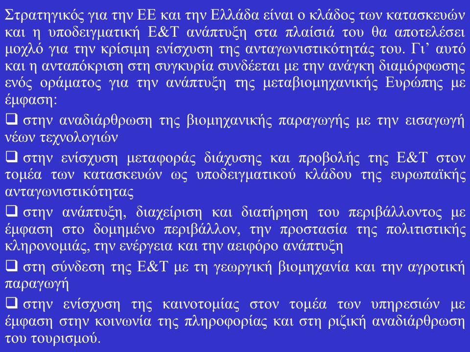 Στρατηγικός για την ΕΕ και την Ελλάδα είναι ο κλάδος των κατασκευών και η υποδειγματική Ε&Τ ανάπτυξη στα πλαίσιά του θα αποτελέσει μοχλό για την κρίσιμη ενίσχυση της ανταγωνιστικότητάς του.