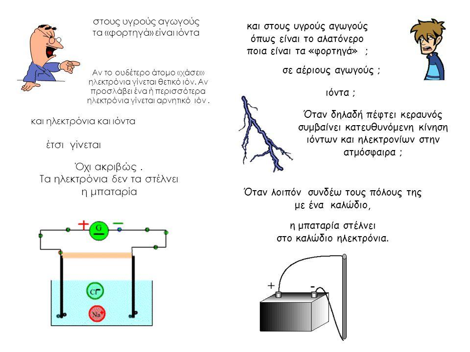 και στους υγρούς αγωγούς όπως είναι το αλατόνερο ποια είναι τα «φορτηγά» ; στους υγρούς αγωγούς τα «φορτηγά» είναι ιόντα Όταν δηλαδή πέφτει κεραυνός συμβαίνει κατευθυνόμενη κίνηση ιόντων και ηλεκτρονίων στην ατμόσφαιρα ; Όταν λοιπόν συνδέω τους πόλους της με ένα καλώδιο, Όχι ακριβώς.
