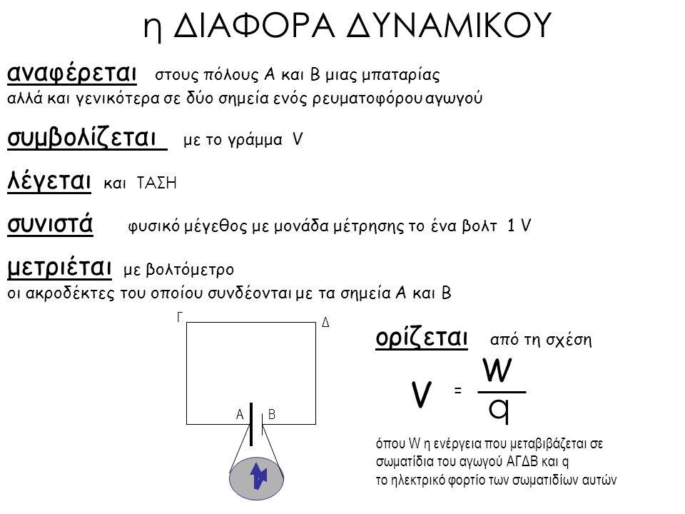 ορίζεται από τη σχέση αναφέρεται στους πόλους Α και Β μιας μπαταρίας αλλά και γενικότερα σε δύο σημεία ενός ρευματοφόρου αγωγού συμβολίζεται με το γράμμα V λέγεται και ΤΑΣΗ συνιστά φυσικό μέγεθος με μονάδα μέτρησης το ένα βολτ 1 V μετριέται με βολτόμετρο όπου W η ενέργεια που μεταβιβάζεται σε σωματίδια του αγωγού ΑΓΔΒ και q το ηλεκτρικό φορτίο των σωματιδίων αυτών V = W q η ΔΙΑΦΟΡΑ ΔΥΝΑΜΙΚΟΥ AΒ οι ακροδέκτες του οποίου συνδέονται με τα σημεία Α και Β Γ Δ