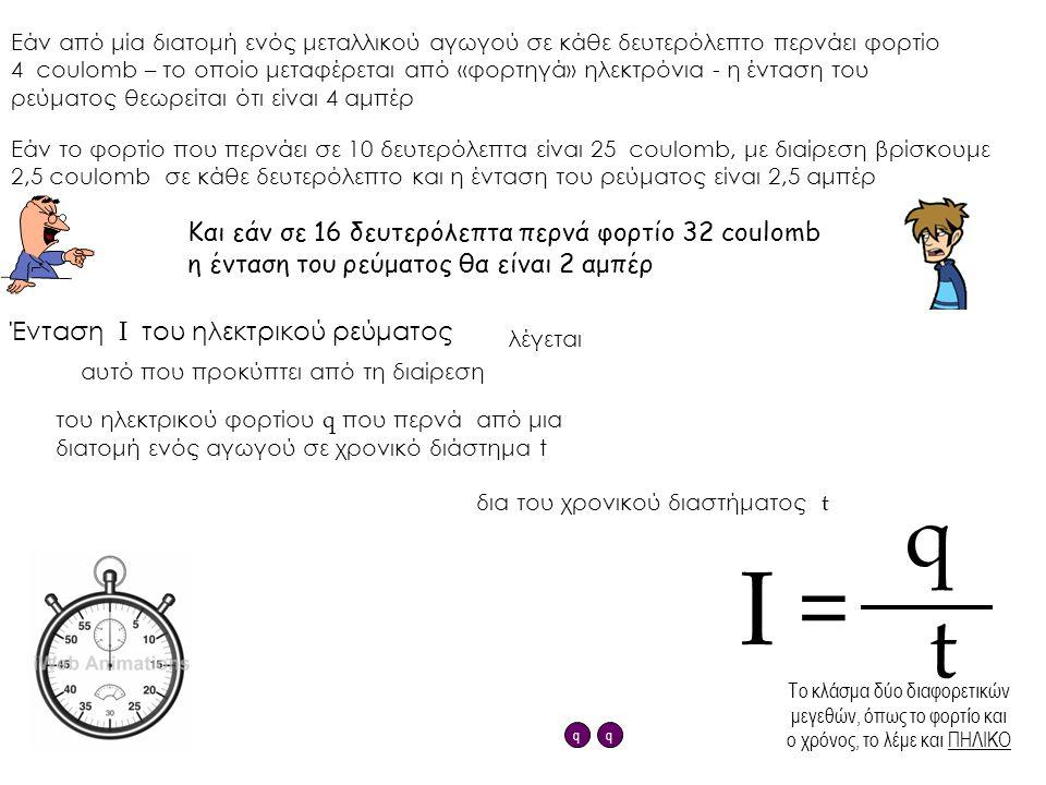 Εάν από μία διατομή ενός μεταλλικού αγωγού σε κάθε δευτερόλεπτο περνάει φορτίο 4 coulomb – το οποίο μεταφέρεται από «φορτηγά» ηλεκτρόνια - η ένταση το