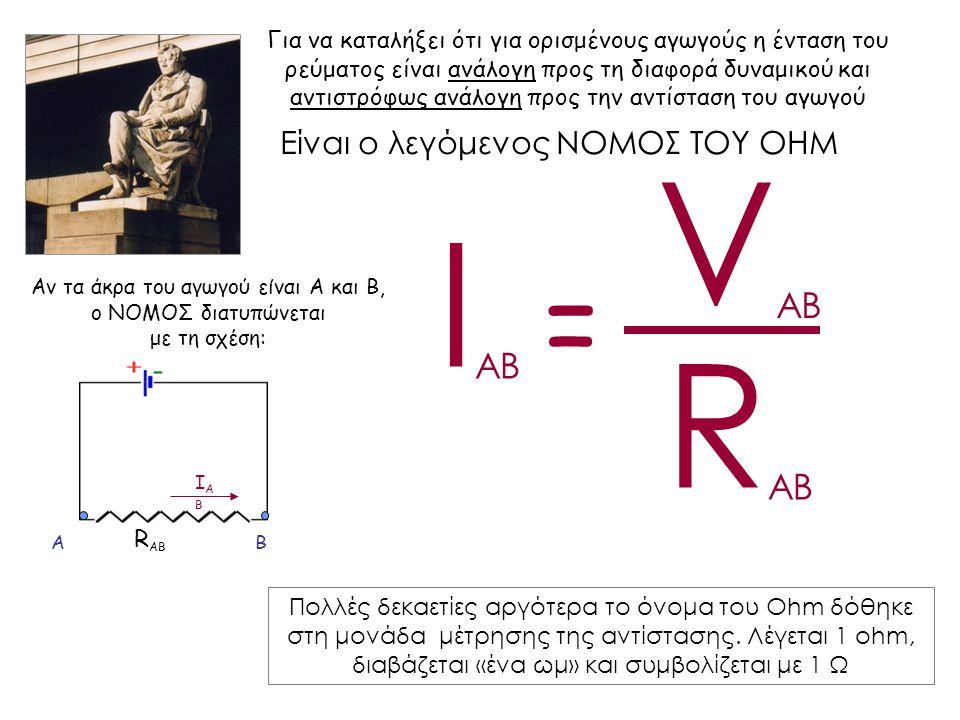 Ι AB R AB V AB = Αν τα άκρα του αγωγού είναι Α και Β, ο ΝΟΜΟΣ διατυπώνεται με τη σχέση: Α ΙΑΒΙΑΒ Β R ΑΒ Είναι ο λεγόμενος ΝΟΜΟΣ ΤΟΥ OHM Για να καταλήξει ότι για ορισμένους αγωγούς η ένταση του ρεύματος είναι ανάλογη προς τη διαφορά δυναμικού και αντιστρόφως ανάλογη προς την αντίσταση του αγωγού Πολλές δεκαετίες αργότερα το όνομα του Ohm δόθηκε στη μονάδα μέτρησης της αντίστασης.