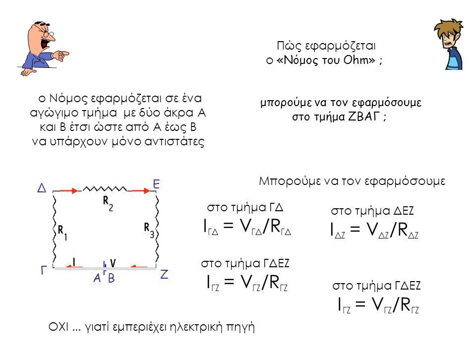 Πώς εφαρμόζεται ο «Νόμος του Ohm» ; ο Νόμος εφαρμόζεται σε ένα αγώγιμο τμήμα με δύο άκρα Α και Β έτσι ώστε από Α έως Β να υπάρχουν μόνο αντιστάτες Μπορούμε να τον εφαρμόσουμε στο τμήμα ΓΔ Ι ΓΔ = V ΓΔ /R ΓΔ στο τμήμα ΔΕΖ Ι ΔΖ = V ΔΖ /R ΔΖ Α Ζ Ε Δ Γ Β στο τμήμα ΓΔΕΖ Ι ΓΖ = V ΓΖ /R ΓΖ στο τμήμα ΓΔΕΖ Ι ΓΖ = V ΓΖ /R ΓΖ ΟΧΙ...