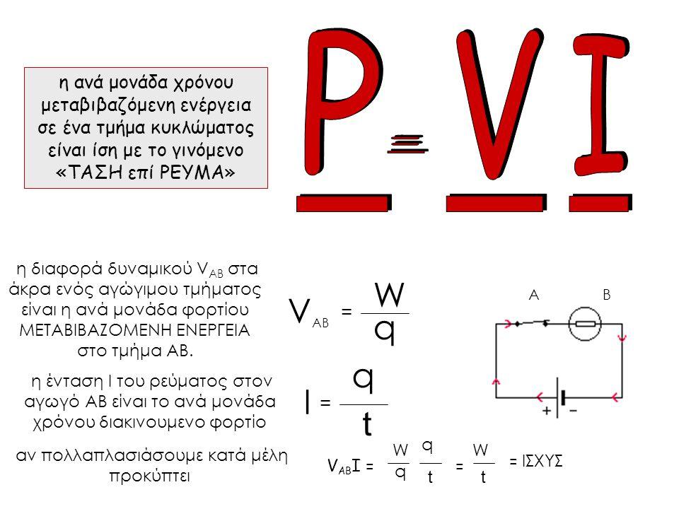 η διαφορά δυναμικού V AB στα άκρα ενός αγώγιμου τμήματος είναι η ανά μονάδα φορτίου ΜΕΤΑΒΙΒΑΖΟΜΕΝΗ ΕΝΕΡΓΕΙΑ στο τμήμα ΑΒ.